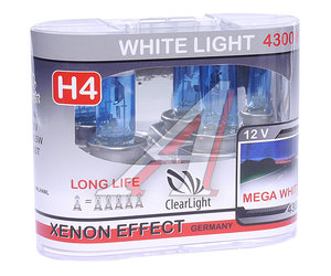 Лампа H4 12V 60/55W P43t White Light бокс (2шт.) CLEARLIGHT MLH4WL,