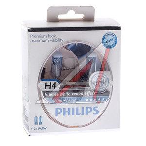 Лампа 12V H4 60/55W + W5W P43t 4300K бокс 2шт.+2шт. WHITE VISION PHILIPS 12342WHVSM, P-12342WHV2