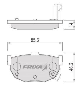 Колодки тормозные HYUNDAI Elantra (00-) KIA Cerato задние (4шт.) HANKOOK FRIXA FPH01R, 58302-2FA00, 58302-29A10