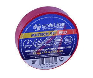 Изолента ПВХ красная 15ммх10м SAFELINE 9357, SAFELINE 15х10