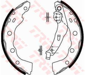 Колодки тормозные MITSUBISHI Carisma задние барабанные (4шт.) TRW GS8665, MR249797/MR465094/MR249796/MR249798/MR307762
