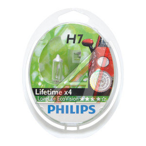 Лампа 12V H7 55W PX26d бокс 2шт. Long Life Eco Vision PHILIPS 12972LLECOS2, P-12972LLECO2, АКГ 12-55 (Н7)