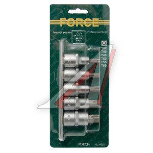 """Набор бит-головок 1/2"""" TORX T40-60 на планке 5 предметов FORCE F-4051"""