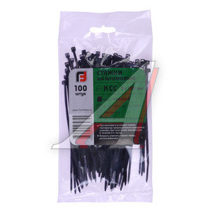 Хомут-стяжка 120х3.0 пластик черный (100шт.) FORTISFLEX 1003120-1, 49407