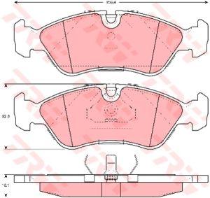 Колодки тормозные DAEWOO Nexia 16V (сборка Корея), Espero передние (4шт.) TRW GDB951, GDB951/GDB1300, 1605808/11046952012