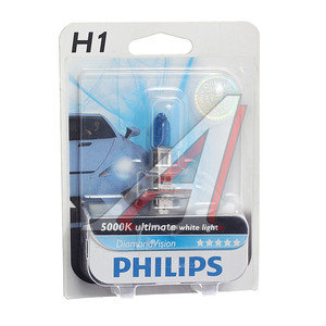 Лампа H1 12V 55W Diamond Vision блистер PHILIPS 12258DVB1, P-12258DVбл, А12-55(Н1)