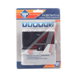 Разветвитель прикуривателя 2 гнезда + 2 USB 12V NOVA BRIGHT 39888