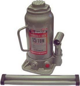 Домкрат бутылочный 15т 230-460мм с клапаном MATRIX 50729,