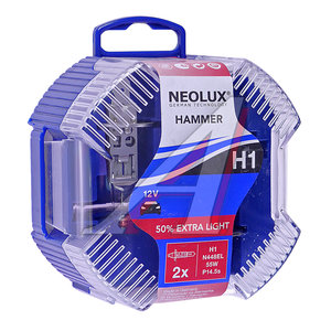 Лампа 12V H1 55W +50% P14.5s бокс (2шт.) Eхtra Light NEOLUX N448EL-2, NL-448EL2, А12-55(Н1)