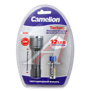 Фонарь 12 светодиодов (алюминий) 8.9см 1хR6 в блистере CAMELION C-5105-12