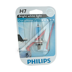 Лампа 12V H7 55W PX26d 4300K блистер (1шт.) Crystal Vision PHILIPS 12972CVB1, P-12972CVбл, АКГ 12-55 (Н7)