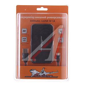 Аккумулятор внешний 3000мА/ч (1 USB 1A) для зарядки мобильных устройств PowerBank AIRLINE APB-03-01