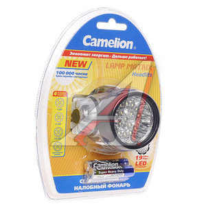 Фонарь налобный 19 светодиодов (пластик) 7,2см в комплекте 3хLR03 в блистере CAMELION C-5323-19Mx, C-5323-19