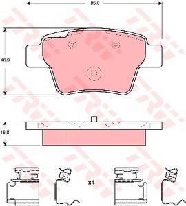 Колодки тормозные PEUGEOT 207 (07-) (4шт.) TRW GDB1678, 425340