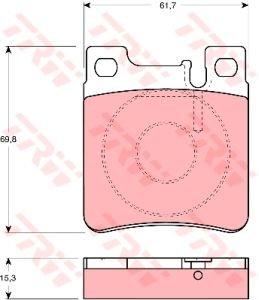 Колодки тормозные MERCEDES 140, 210 задние (4шт.) TRW GDB1123, A0044209220