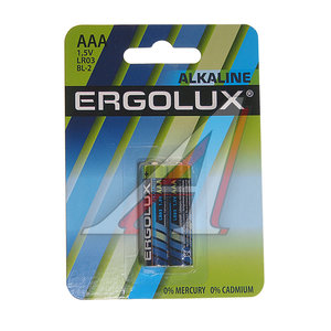 Батарейка AAA LR03 1.5V Alkaline блистер (по 1шт.) ERGOLUX EL-LR03(2)бл