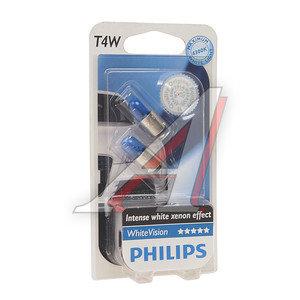 Лампа 12V T4W BA9s блистер (2шт.) White Vision PHILIPS 12929NBVB2, P-12929NBV2бл, А12-4-1