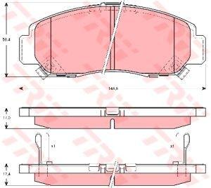 Колодки тормозные HONDA Civic (1.6/1.8) (05-), Accord (2.4/3.0) (06-) передние (4шт.) TRW GDB3268, 45022-S7A-E00/45022-S7A-E50/45022-SDB-A10