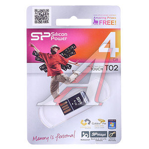 Карта памяти USB 4GB Touch 02 Black SILICON POWER SILICON POWER 4GB TOUCH 02 BLACK, SP004GBUF2T02V1K,