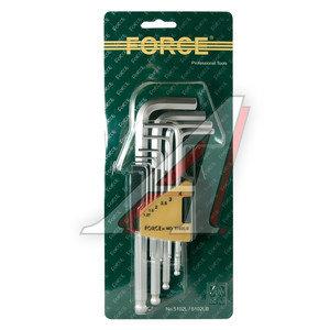 Набор ключей шестигранных 1.27-10мм удлиненных с шаром 10 предметов FORCE F-5102LB, 5102LB