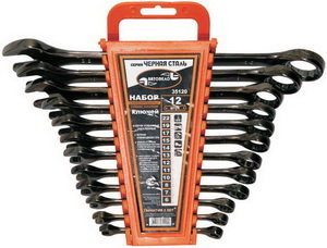 Набор ключей комбинированных 6-19мм 8 предметов в холдере изгиб 15град. черная сталь АВТОДЕЛО АВТОДЕЛО 35080, 13762,