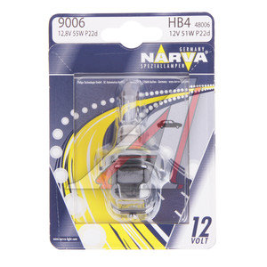 Лампа 12V HB4 51W P22d блистер (1шт.) NARVA 48006B1, N-48006бл