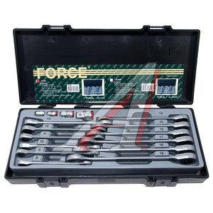 Набор ключей комбинированных трещоточных 8-19мм 16 предметов в кейсе с держателем головок FORCE F-5164