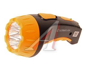 Фонарь светодиодный аккумуляторный 4 светодиодов, черный/желтый, 13см 220V ULTRAFLASH C-3804