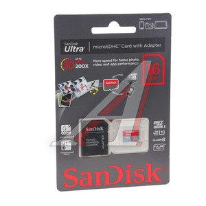 Карта памяти 16GB MicroSD class 10 Ultra + SD адаптер SANDISK SANDISK 16GB MICRO SDHC, SDSQUNB-016G-GN3MA
