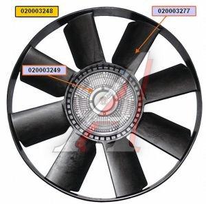 Вентилятор КАМАЗ-ЕВРО 600мм с вязкостной муфтой и обечайкой СБ (дв.CUMMINS до 2009г.) BORG WARNER 020003248