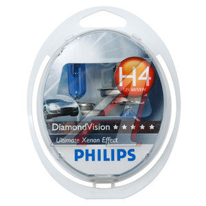 Лампа 12V H4 60/55W P43t бокс 2шт. Diamond Vision PHILIPS 12342DVS2, P-12342DV2, АКГ12-60+55(Н4)
