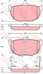 Колодки тормозные HYUNDAI Elantra (XD) (00-), Coupe (02-) KIA Cerato (03-) задние (4шт.) TRW GDB1010, 58215-2D300/58215-291S0
