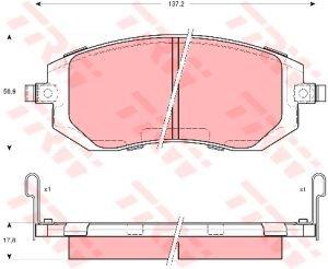 Колодки тормозные SUBARU Forester, Impreza передние (4шт.) TRW GDB3328,