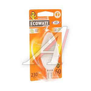 Лампа светодиодная E14 B35 6.2W(60W) 2700К 230V теплый свеча ECOWATT 4606400419297