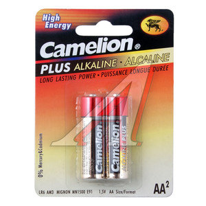 Батарейка AA LR6 1.5V Alkaline Plus блистер (2шт.) CAMELION C-LR6P(2)бл