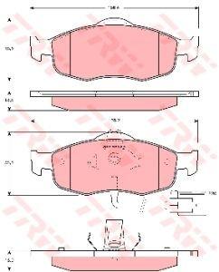 Колодки тормозные FORD Mondeo, Scorpio передние (4шт.) TRW GDB1108, 1022078/6877837/1095202