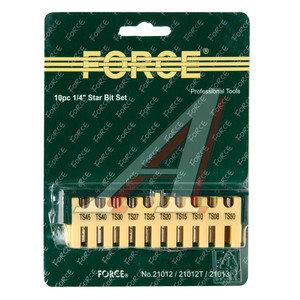 """Набор бит 1/4"""" TORX T7H-40H в блистере 10 предметов FORCE F-21012T,"""