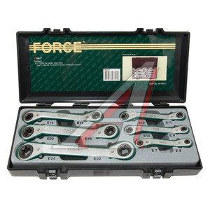 Набор ключей накидных трещоточных TORX Е6-24 6 предметов в кейсе изгиб 15град. FORCE F-50617