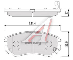 Колодки тормозные HYUNDAI Sonata 5,Tucson KIA Sportage New передние (4шт.) HANKOOK FRIXA S1H02NF, 58101-2EA10