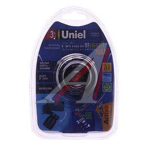 Фонарь налобный 1 светодиод (алюминий) влагозащищенный 3хLR03 UNIEL S-HL014-C Black