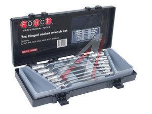 Набор ключей торцевых 6-19мм 12-ти гранных шарнирных 7 предметов FORCE F-5074, 5074,