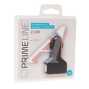 Устройство зарядное 2 USB 2.1A черный PRIME LINE 2211