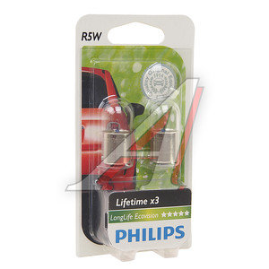 Лампа 12V R5W BA15s блистер 2шт. Long Life Eco Vision PHILIPS 12821LLECOB2, P-12821LLECO2бл