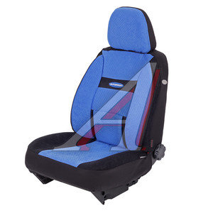 Авточехлы универсальные велюр (AIRBAG карманы) черно-синие (6 предм.) Transform Comfort AUTOPROFI TRS/COM-001 BK/BL,