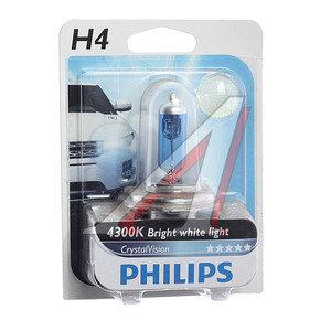 Лампа H4 12V 60/55W P43t-38 Cristal Vision блистер PHILIPS 12342CVB1, P-12342CVбл