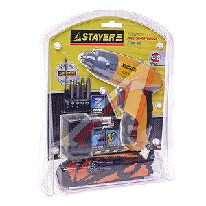 Отвертка аккумуляторная 4.8В 0.7Ач с подсветкой, с набором бит STAYER SCSD-4.8