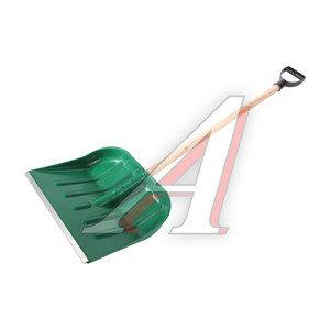 Лопата снеговая пластиковая 400х460мм с деревянным черенком №2 №2, ЗИ-00111