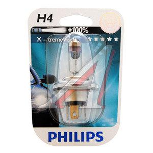Лампа H4 12V 60/55W P43t-38 +100% X-treme Vision блистер PHILIPS 12342XV+B1, P-12342XVбл