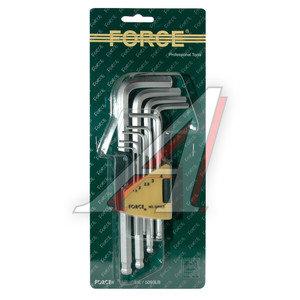 Набор ключей шестигранных 1.5-10мм удлиненных с шаром 9 предметов FORCE F-5093LB, 5093LB